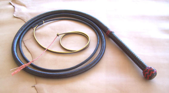 Bullwhip, 8 Foot 16 Plait Brandy With Red